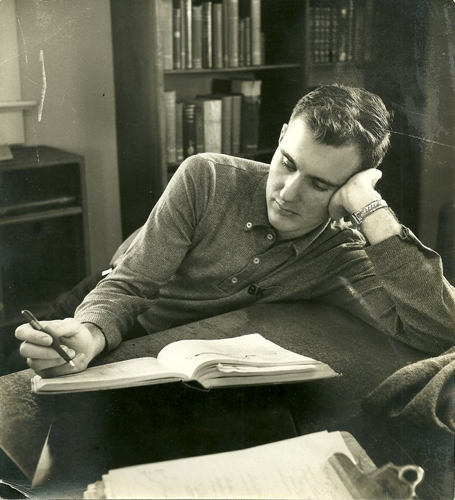 Bill Kiker studying as a Mitchell student