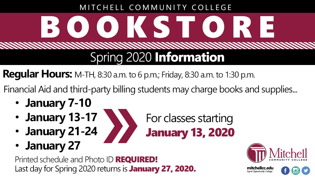 Bookstore Information Spring 2020. See accessible PDF in text below for full information.