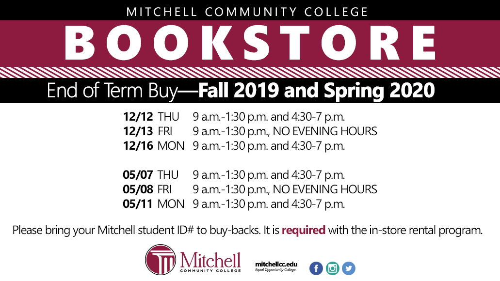 End of Term Buy for Fall 2019 and Spring 2020. See accessible PDF in text below for full information.