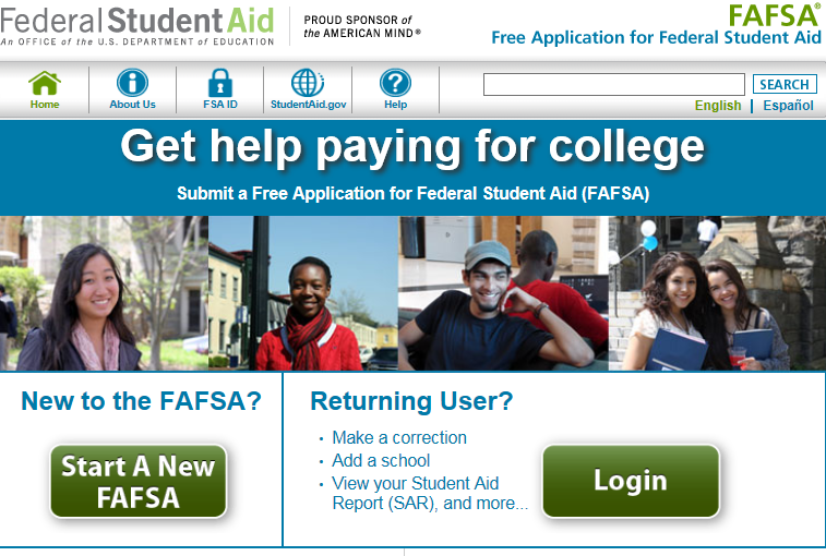 Front page of www.fafsa.gov