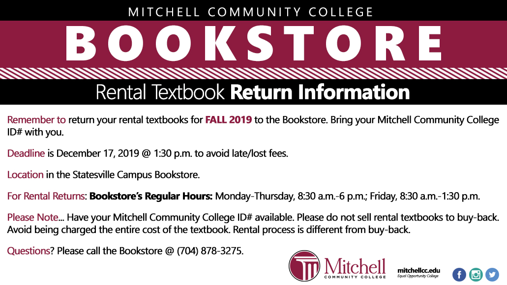 Rental Textbook Return info for Fall 2019. See accessible PDF in text below for full information.