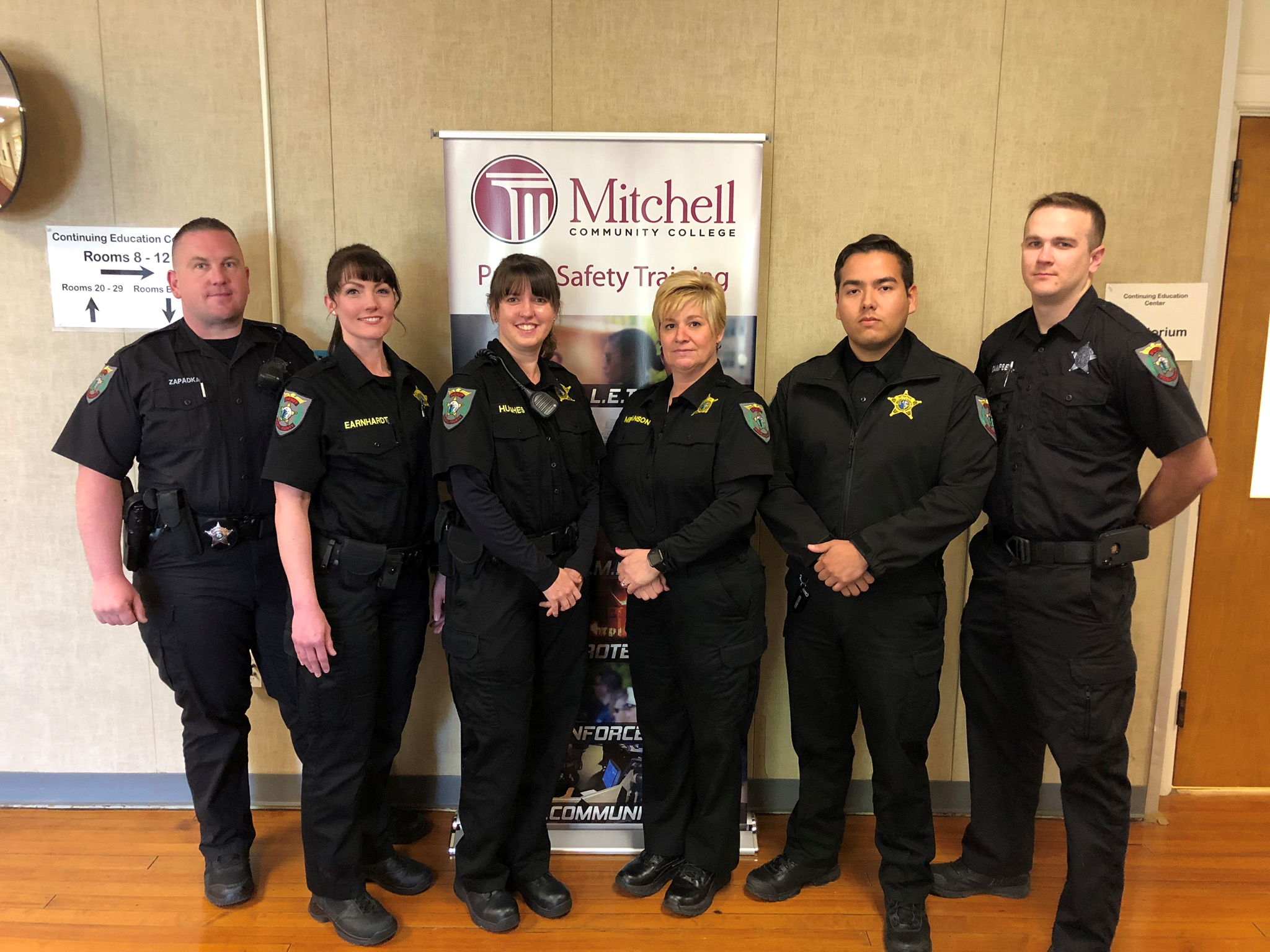 Detention Officer Certification students (L-R) Thomas Zapadka, Carol Earnhardt, Sallie Hughes, Jessica Melanson, Harvey Mercado and Tyler Campbell. All are from the Iredell County Sheriff's Office.