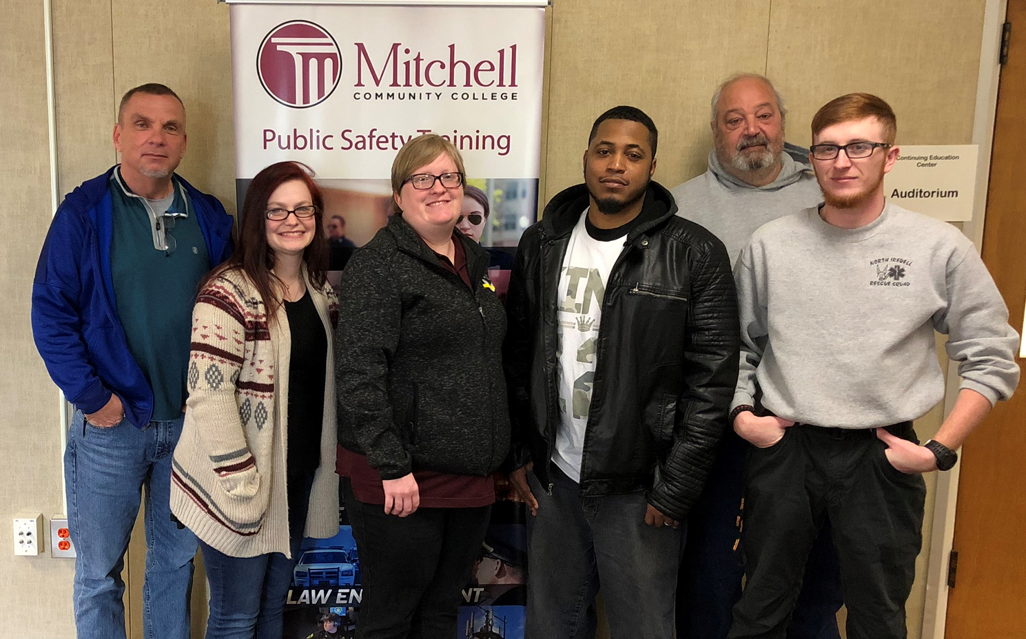 Telecommunicator students (L-R) Richard Eades, Miranda Pierce, Stephanie Josey, Direesh Freeman, Mark Goldman and William Harris, III.