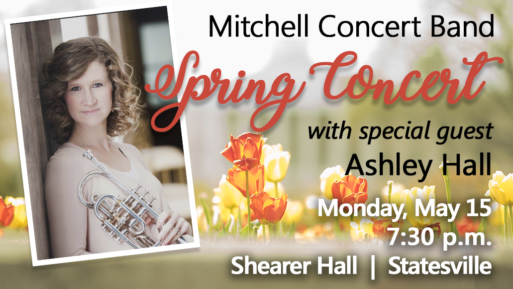 Cocnert Band Spring concert with Ashely Hall - May 15 at 7:30 p.m. in Shearer Hall