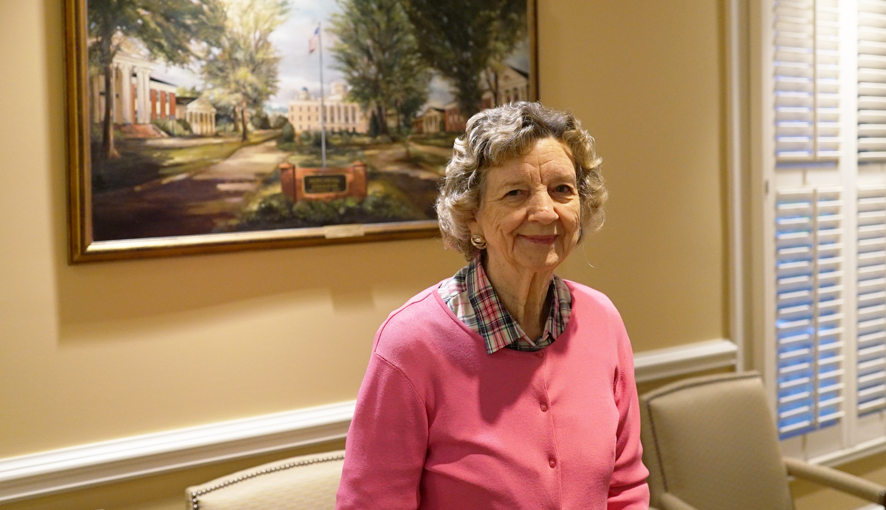 Dr. Peggy Gray poses in the Roueche Board Room on Mitchell's Statesville Campus.