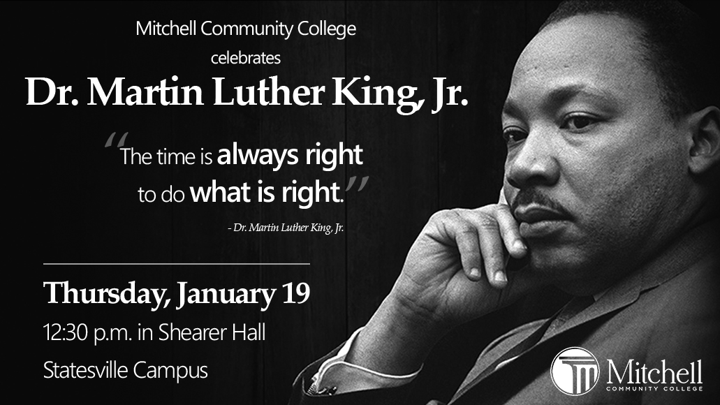 2017 MLK celebration Thursday January 19, 12:30 p.m. in Shearer Hall