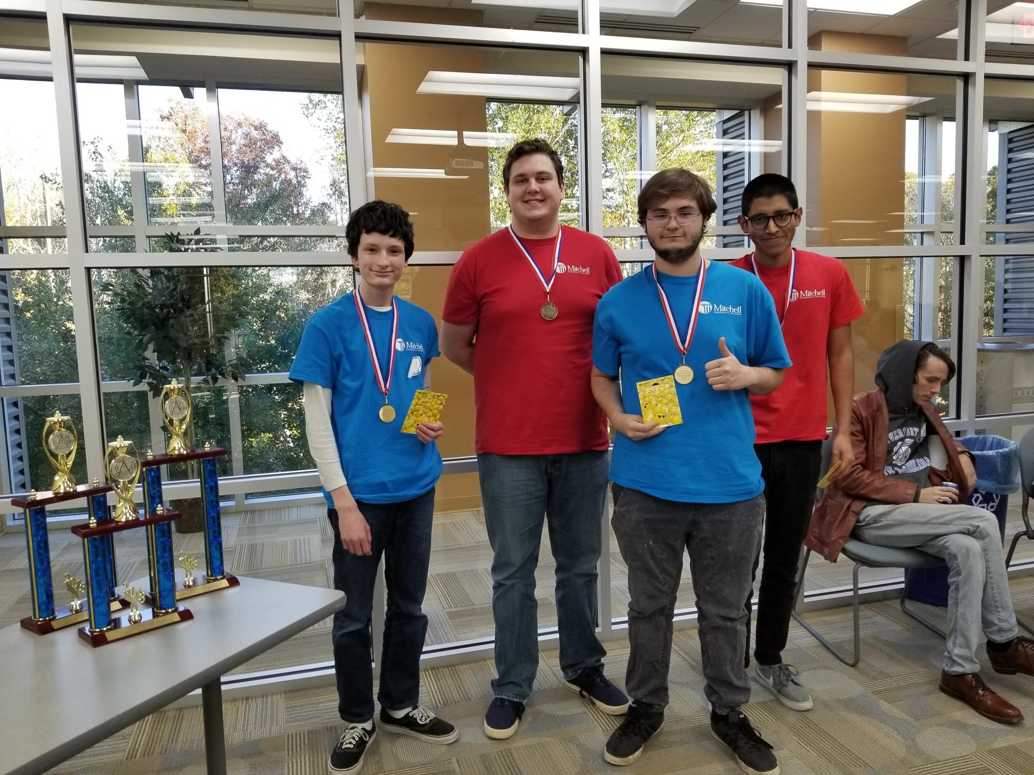 (L-R) Mitchell Math Club competitors Erick Boniface, Lee Cline, Michael Bovenzi and Christian Campos Ruiz