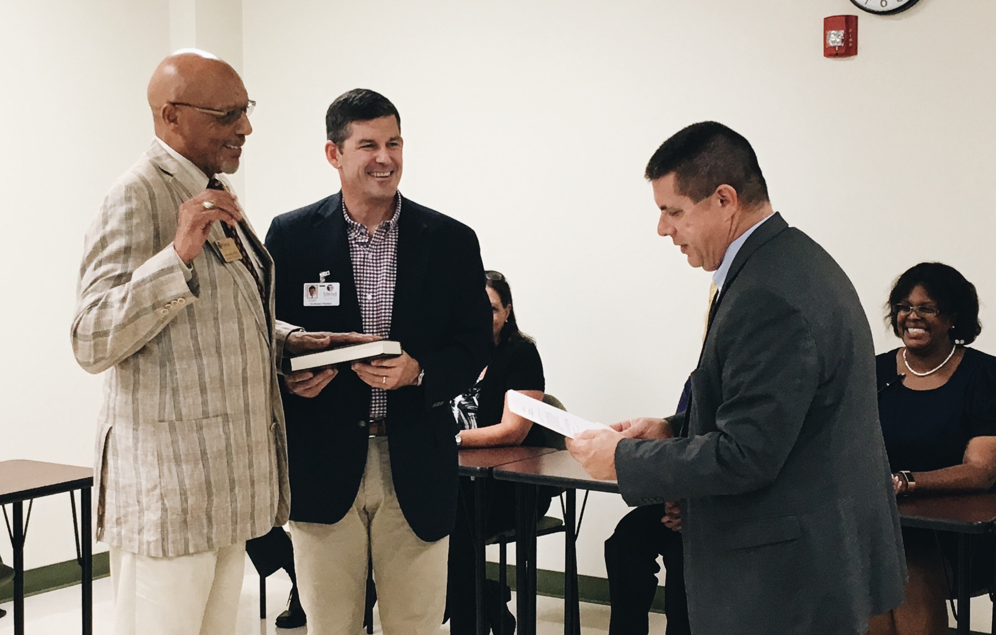 Mr. David J. Meachem is sworn in at the September 28, 2018 Board of Trustees meeting.