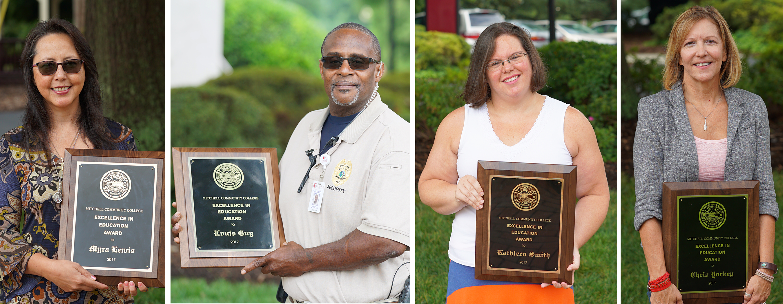 R.D. Grier Excellence in Education winners Myra Lewis (Professional/Para-Professional/Technical); Louis Guy (Support Staff); Kathleen Smith (Adjunct Faculty); Chris Yockey (Faculty)