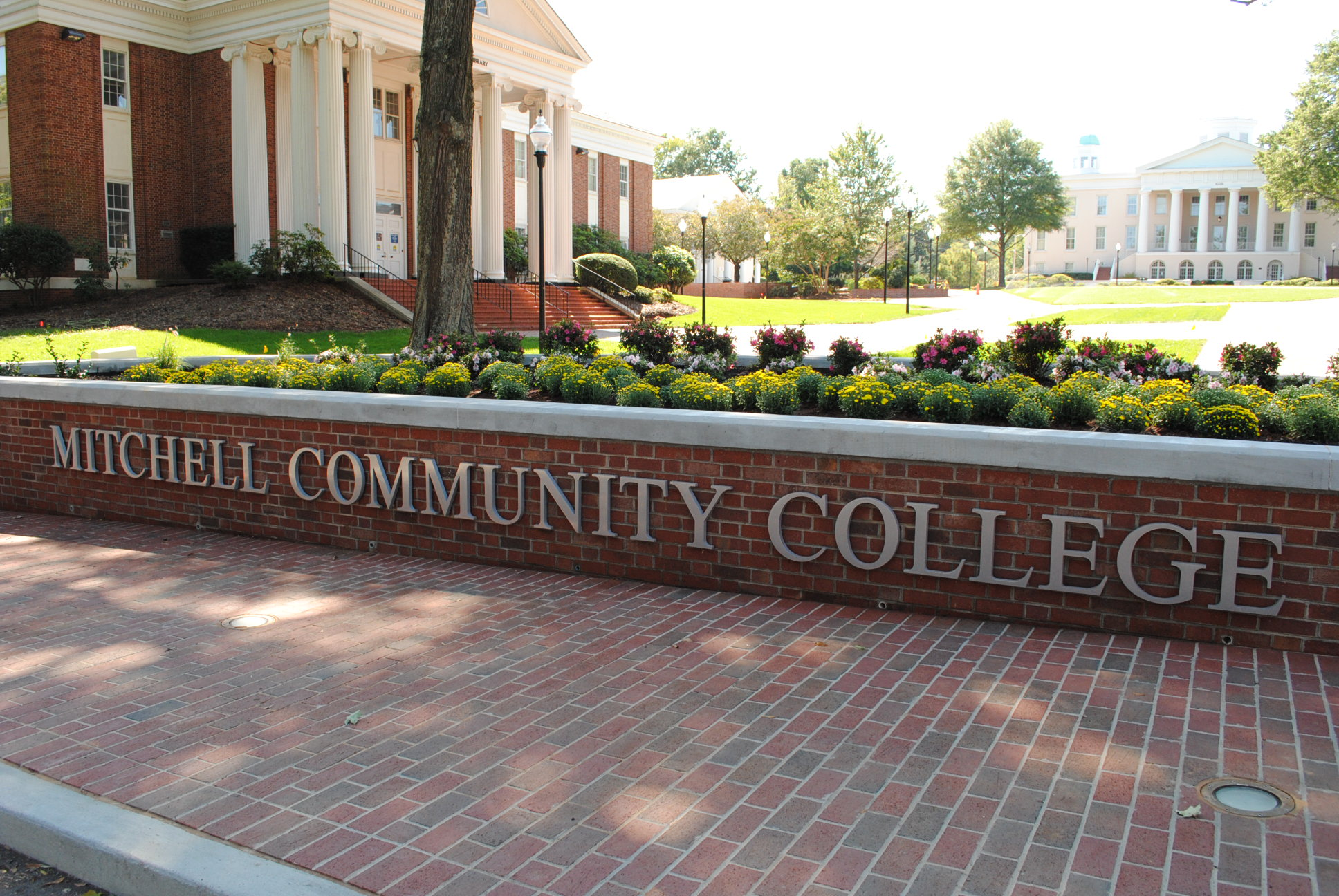 The front sign on Mitchell Community College's historic Statesville Campus