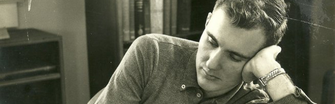 Dr. Bill Kiker studying during his time at Mitchell in the 1950s