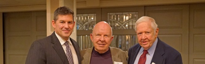 Mitchell president, Dr. Tim Brewer, Dr. John Roueche ('58), and Mitchell Board of Trustees chair, Dr. Ralph Bentley, at the third annual President's Circle dinner.