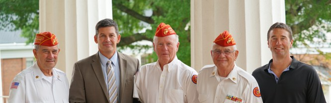 Luca Cotrone, Sr. Vice Commandant Marine Corps League (MCL) Iredell County; Dr. Tim Brewer, President, Mitchell Community College; Dale Wilson, MCL Member and Scholarship Honoree; Dick Camery, Commandant MCL Iredell County; Josh Wilson, son of Dale Wilson.