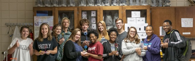 Mitchell Biology students pose for a photo after class presentations.
