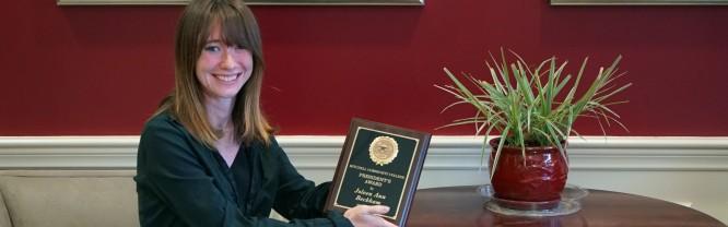 Joleen Beckham holding the 2020 President's Award