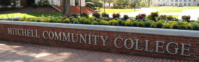 The Mitchell Community College sign on the historic Statesville Campus