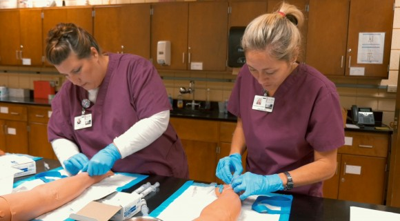 Nursing students in the lab