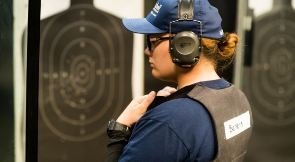 BLET student at firing range