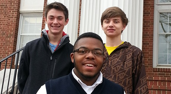 Three Mitchell Career and College Promise students.