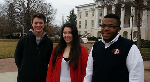Career and College Promise students pause on the Statesville Campus.