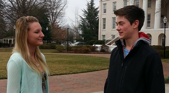 Career and College Promise students chat on Statesville Campus.
