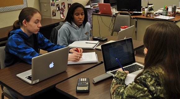 CCTL students work together on an assignment.