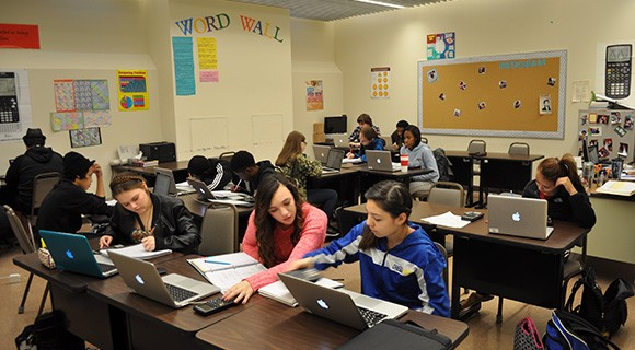 Students work on assignments in a CCTL classroom.