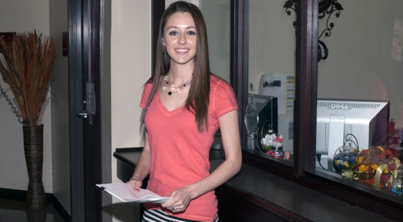 A student in Mitchell's Financial Aid Office