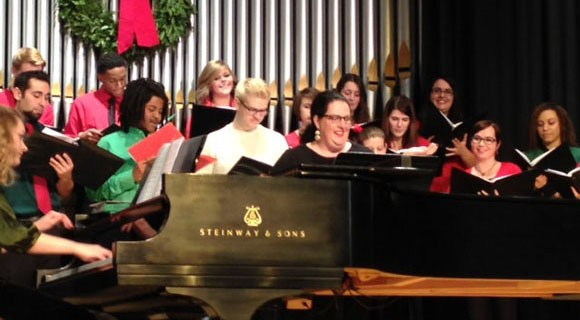 Community Chorus and Student Chorus sing holiday songs