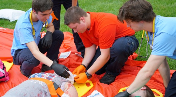 EMT and Paramedic students train during a disaster simulation.