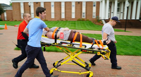Mitchell EMS students in a recent disaster simulation