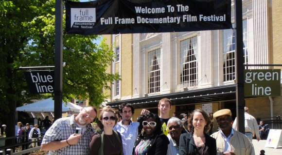 A group poses during the Full Frame Film Festival in 2012. Mitchell Community College Art Department