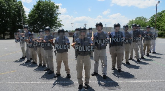 BLET students learn formations for crowd control.