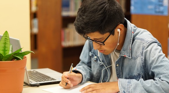 A student studying