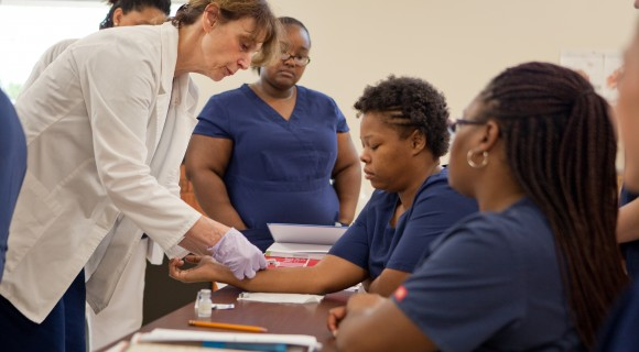 Medical Assisting students in the lab