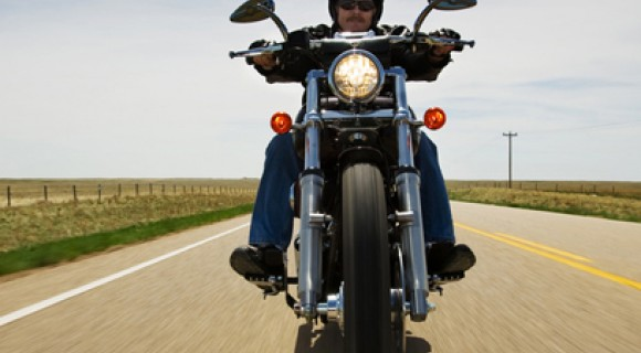Motorcycle rider on highway