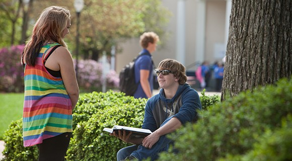Students discuss a lesson on the lawn.