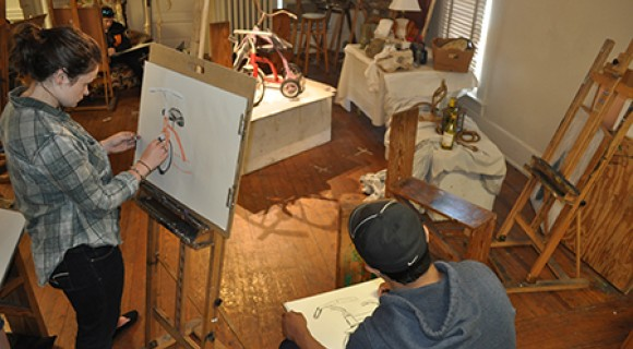 Drawing students in studio.