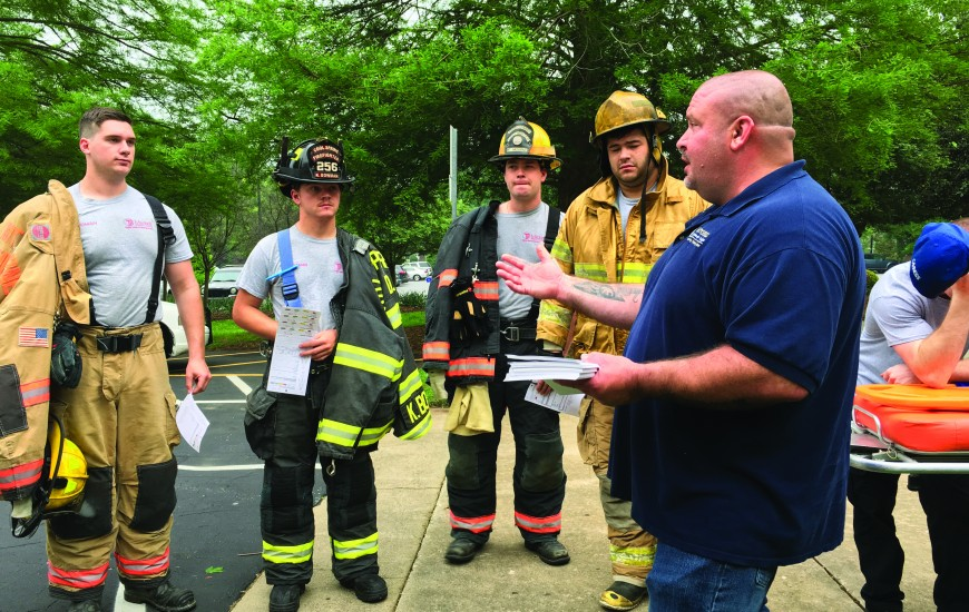 Fire students and instructor at a Mitchell simulation