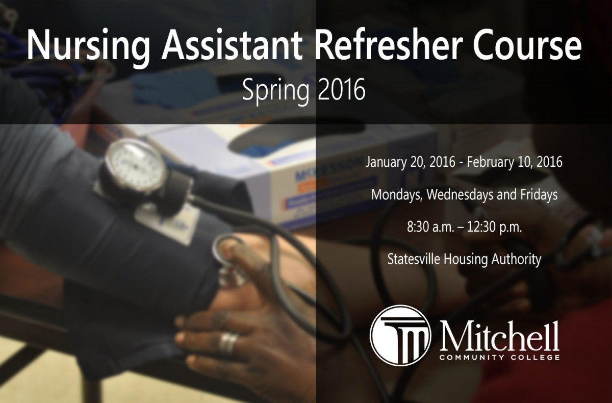Mitchell offers na refresher course mitchell community college nursing assistant students practice taking blood pressure 1betcityfo Choice Image