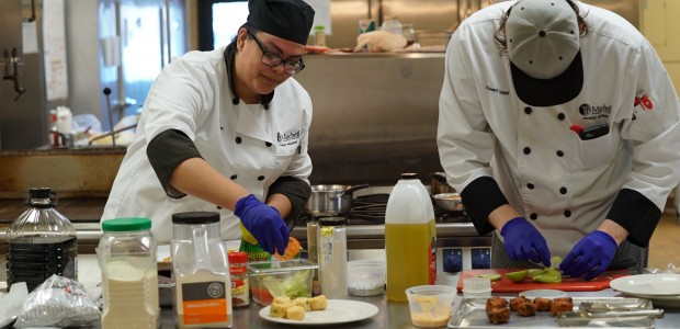 Culinary students in the ktichen.