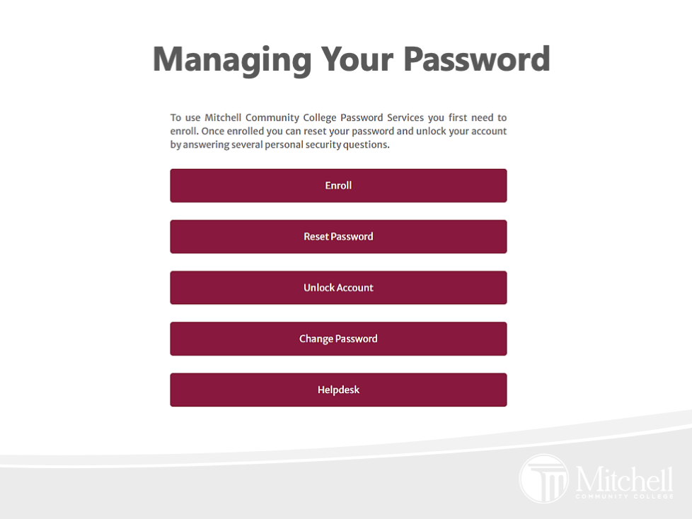 Managing your password screenshot with button options