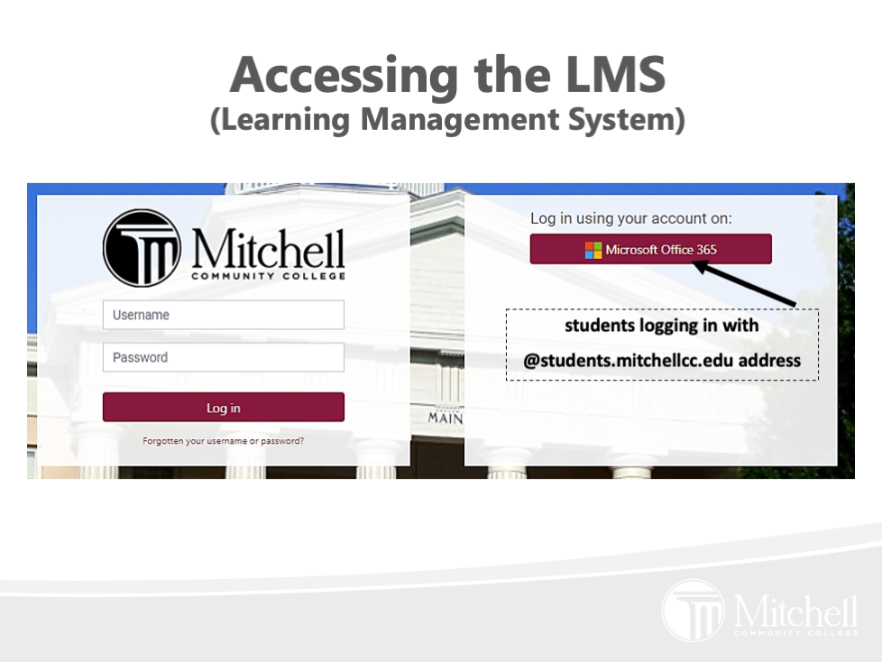 Screen showing the LMS log in screen.  The following text is on the screen: students logging in with  @students.mitchellcc.edu address