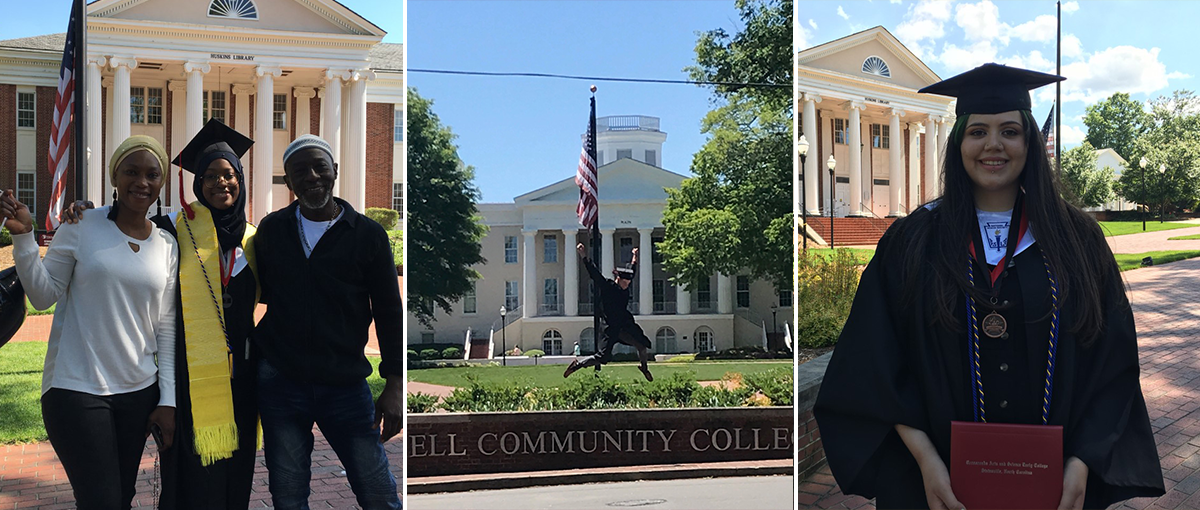 Collage of pictures of graduates standing in front of the Mitchell Community College Statesville campus.