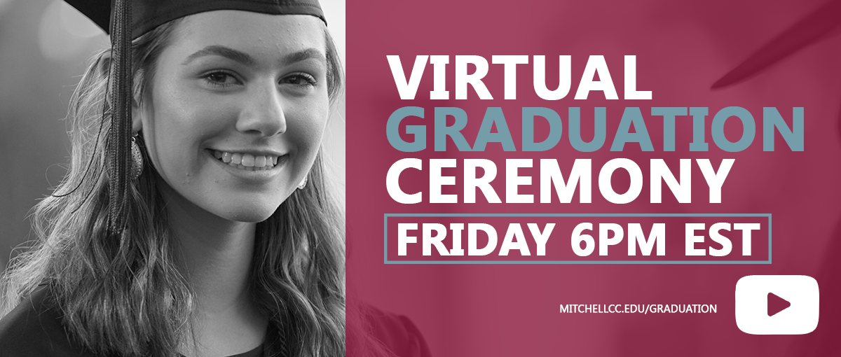 graduate smiling with the words virtual graduation ceremony Friday 6pm
