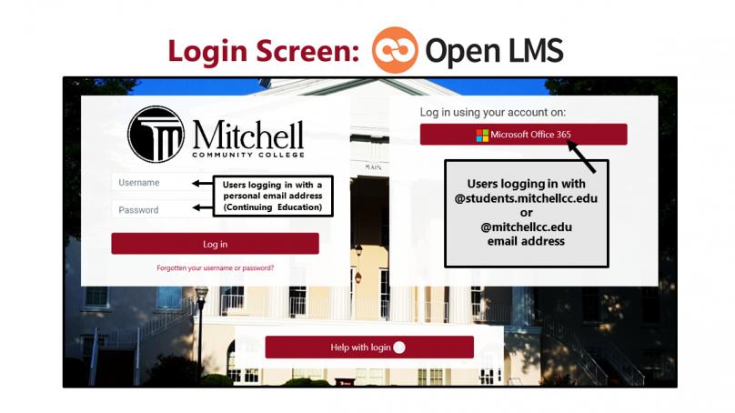 A screenshot of the new Open LMS login screen