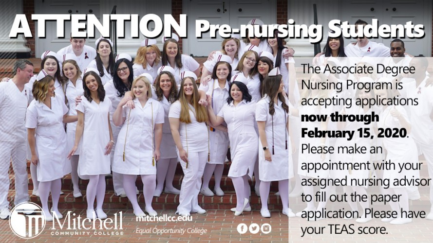 The Associate Degree Nursing Program is accepting applications now through February 15, 2020.  Please make an appointment with your assigned nursing advisor to fill out the paper application. Please have your TEAS score.