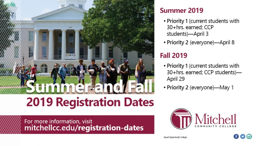 Summer and Fall 2019 Registration Dates. For more information, visit: mitchellcc.edu/registration-dates - Summer 2019 Priority 1 (current students with 30+hrs. earned; CCP students)―April 3. Priority 2 (everyone)―April 8 Fall 2019. Priority 1 (current students with 30+hrs. earned; CCP students)―April 29. Priority 2 (everyone)―May 1