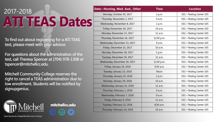 TEAS Dates 2018