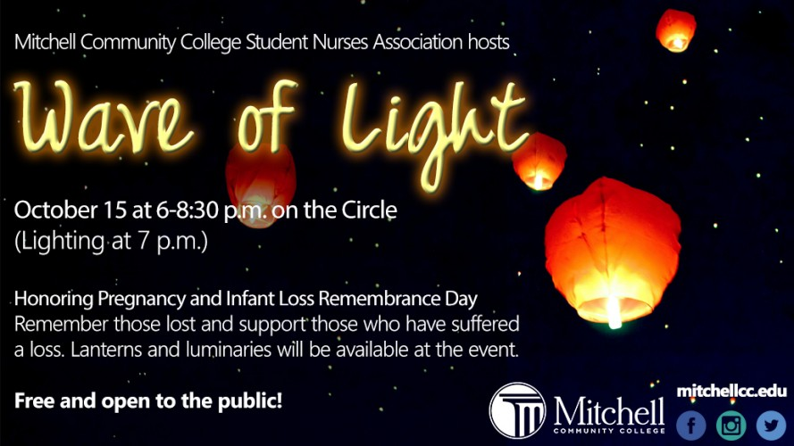 Mitchell Community College Student Nurses Association hosts October 15 at 6-8:30 p.m. on the Circle (Lighting at 7 p.m.) Honoring Pregnancy and Infant Loss Remembrance Day Remember those lost and support those who have suffered a loss. Lanterns and luminaries will be available at the event  Free and open to the public!
